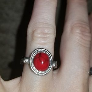 Silver ring with gorgeous red stone